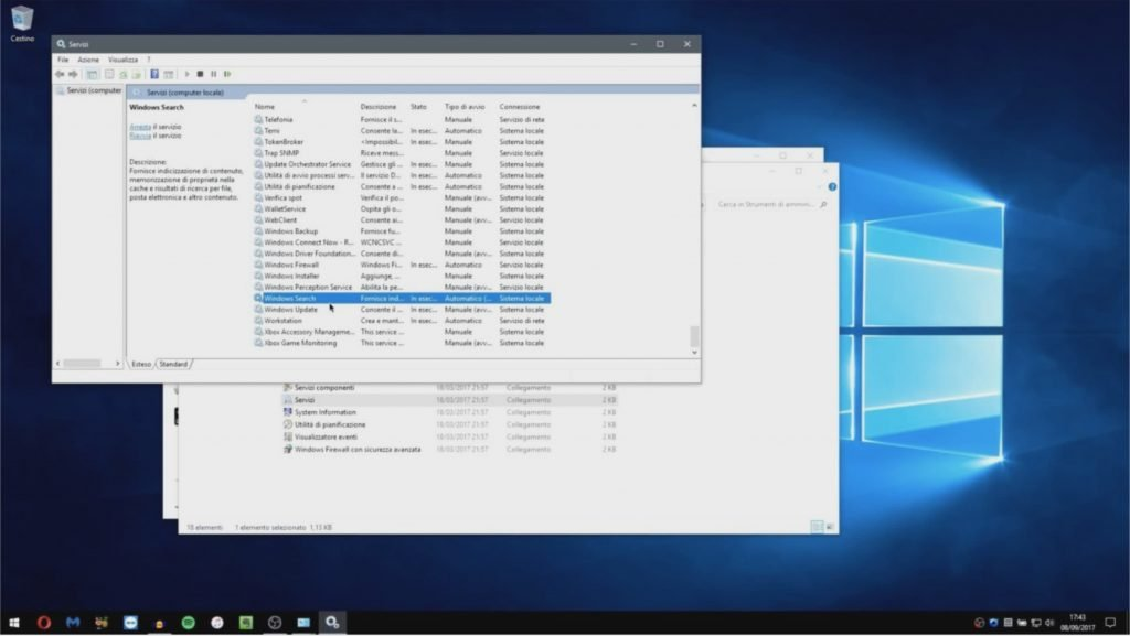Disattivare Windows Search su Windows 10